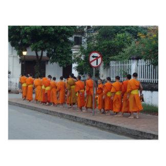 Monks Collecting Alms in Luang Prabang, Laos Postcard