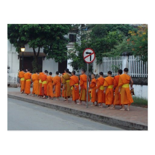 Monks Collecting Alms in Luang Prabang, Laos Post Cards