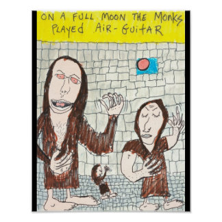 Monks Playing Air Guitar Poster