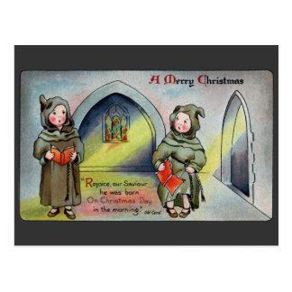 Monks Singing Carol Antique Christmas Postcards