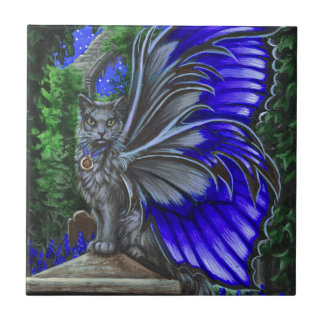 Monkshood Gray Fairy Cat Tile