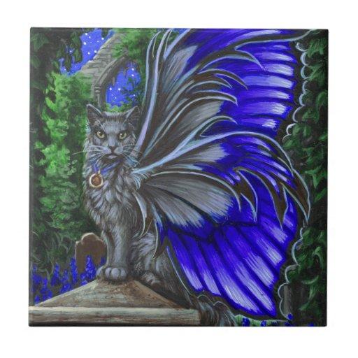 Monkshood Gray Fairy Cat Tile