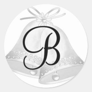 Monnogram Wedding Bells Round Sticker