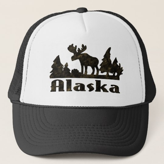 Mono Coloured Alaskan Moose Scene Trucker Hat