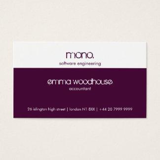Mono Eggplant Purple & White Business Card