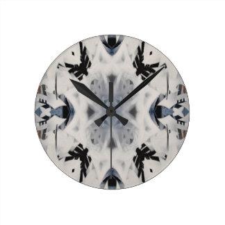 Mono kaleidoscope graffiti pattern wall clocks