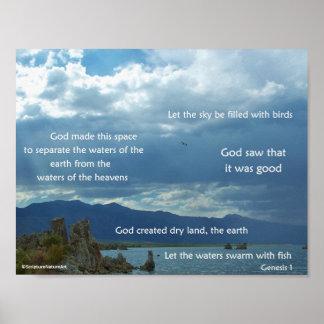Mono Lake, Mountains, & Sunbeams, Genesis 1 Poster