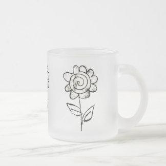Mono print flower frosted glass coffee mug
