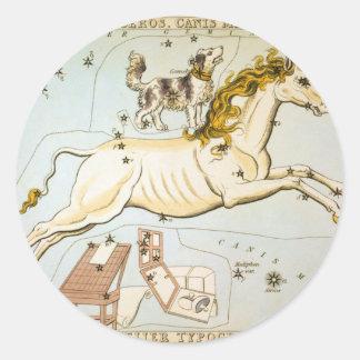 Monoceros, Canis Minor, and Atelier Typographique Round Sticker