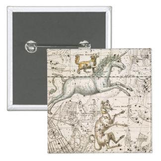 Monoceros, from 'A Celestial Atlas', pub. in 1822 15 Cm Square Badge