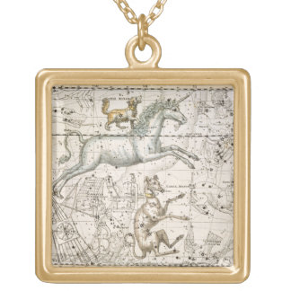 Monoceros, from 'A Celestial Atlas', pub. in 1822 Gold Plated Necklace