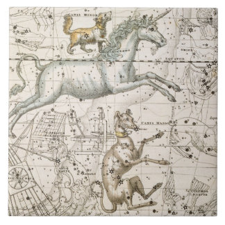 Monoceros, from 'A Celestial Atlas', pub. in 1822 Large Square Tile
