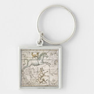 Monoceros, from 'A Celestial Atlas', pub. in 1822 Silver-Colored Square Key Ring