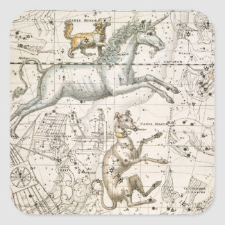 Monoceros, from 'A Celestial Atlas', pub. in 1822 Square Sticker