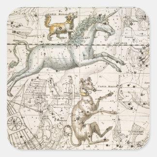 Monoceros, from 'A Celestial Atlas', pub. in 1822 Square Sticker