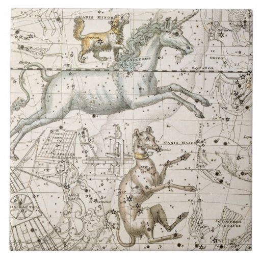 Monoceros, from 'A Celestial Atlas', pub. in 1822 Tile