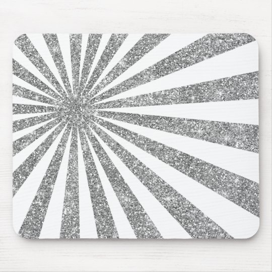 Monochrom White Silver Stripes Lines Ruys Glitter Mouse