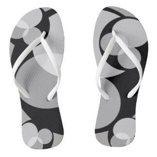 Monochromatic Abstract Black White Elegant Stylish Flip Flops