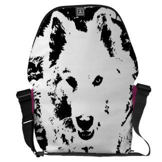 "Monochromatic ""black and white"" samoyed husky dog commuter bags"