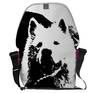 "Monochromatic ""black and white"" samoyed puppy dog messenger bag"