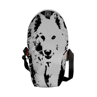 "Monochromatic ""black and white"" samoyed puppy dog messenger bags"