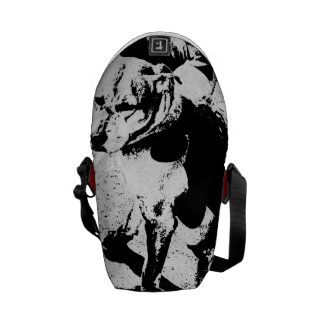 """Monochromatic """"black and white"""" very cool pitbull commuter bags"""