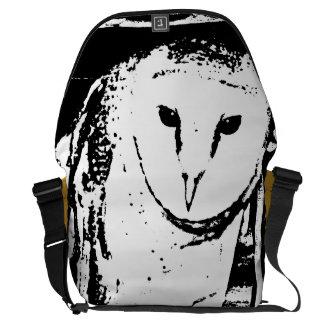 Monochromatic black & white barn owl on branch courier bag