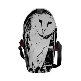 Monochromatic black & white wise barn owl messenger bag