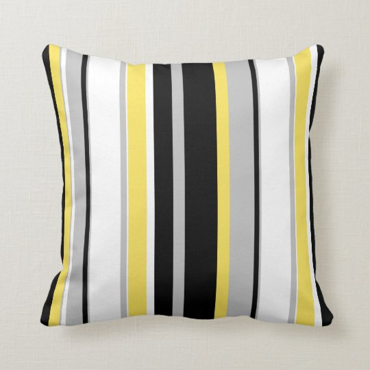 Monochromatic Bold Striped Throw Pillow