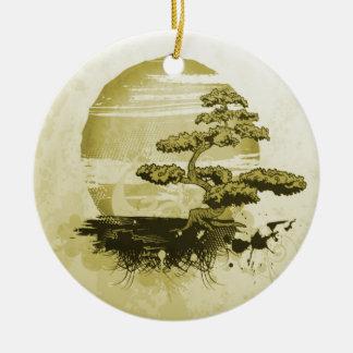 Monochromatic Bonsai and Sun Round Ceramic Decoration