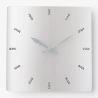Monochromatic Gray Silver Ombre Minimal Black Square Wall Clock