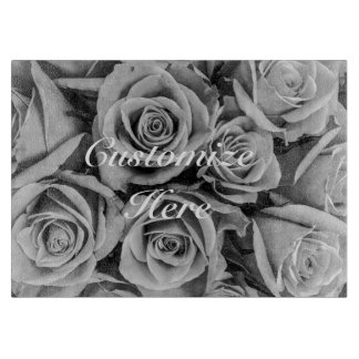 Monochromatic Personalized Roses Cutting Board
