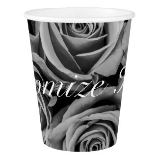 Monochromatic Personalized Roses Paper Cup