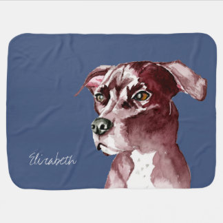 Monochromatic Pit Bull Dog Watercolor Painting Baby Blanket