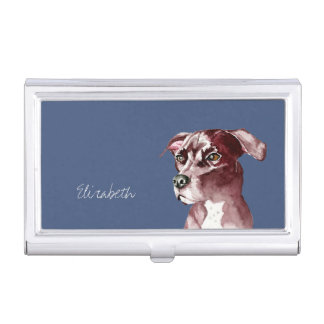 Monochromatic Pit Bull Dog Watercolor Painting Business Card Holder