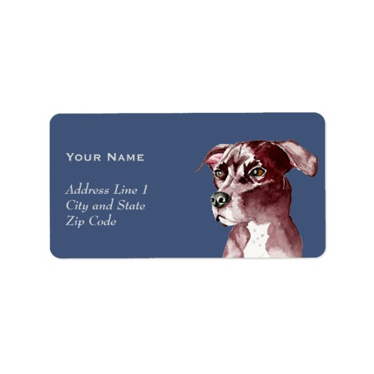 Monochromatic Pit Bull Dog Watercolor Painting Label
