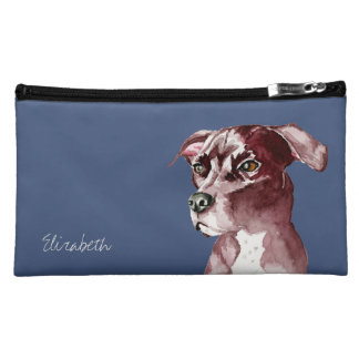 Monochromatic Pit Bull Dog Watercolor Painting Makeup Bag