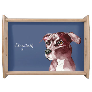 Monochromatic Pit Bull Dog Watercolor Painting Serving Tray