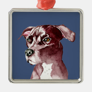 Monochromatic Pit Bull Dog Watercolor Painting Silver-Colored Square Decoration