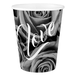 Monochromatic Roses Love Paper Cup