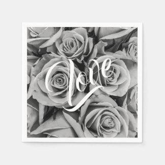 Monochromatic Roses Love Paper Napkin