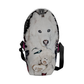Monochromatic samoyed dog with I love you message Courier Bag