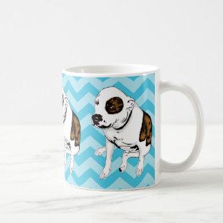 Monochromatic Teal Chevron Pit Bull Terrier Mug