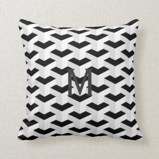 Monochrome 3D Geometric Chic Cushion with Initial
