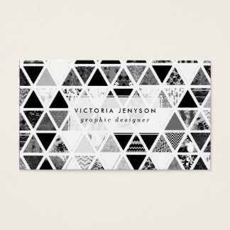 Monochrome Abstract Floral Triangles Patchwork