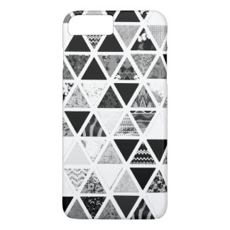 Monochrome Abstract Floral Triangles Patchwork iPhone 7 Plus Case