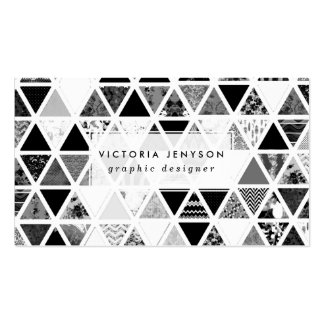 Monochrome Abstract Floral Triangles Patchwork Pack Of Standard Business Cards