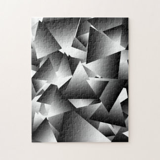 Monochrome Abstract Triangles Fashion Pattern Jigsaw Puzzle