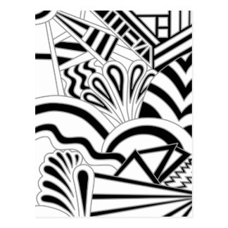 Monochrome Art Deco Design. Postcard