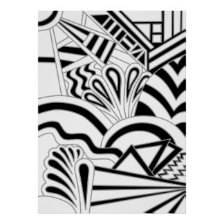Monochrome Art Deco Design. Poster